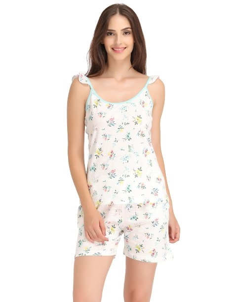 Image for Buy Floral Print Spaghetti Top & Shorts Set at Shoppyzip