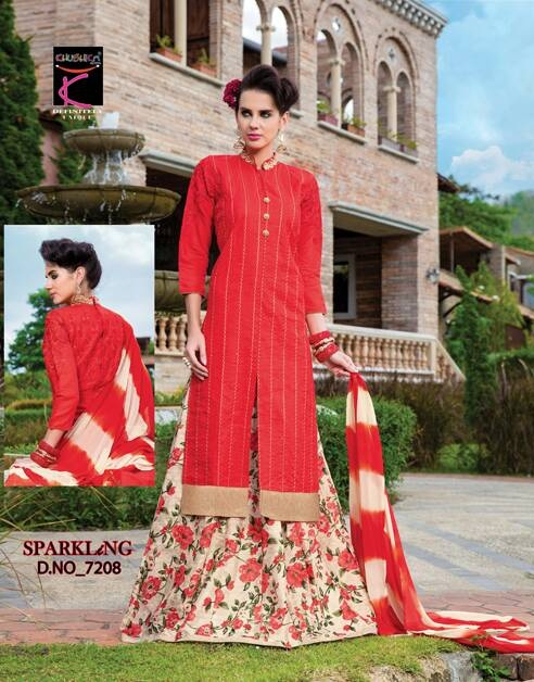 Sparkling by khushika readmade lehenga style suits catalog at wholesal