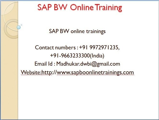 Sap Business whorehouse (SAP BW)online training by experts