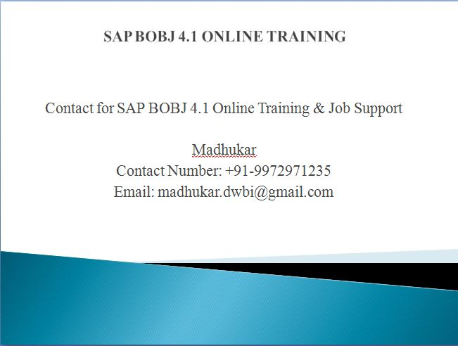 BO Online Training, Join Free - Demo live project explanation  SAP BO