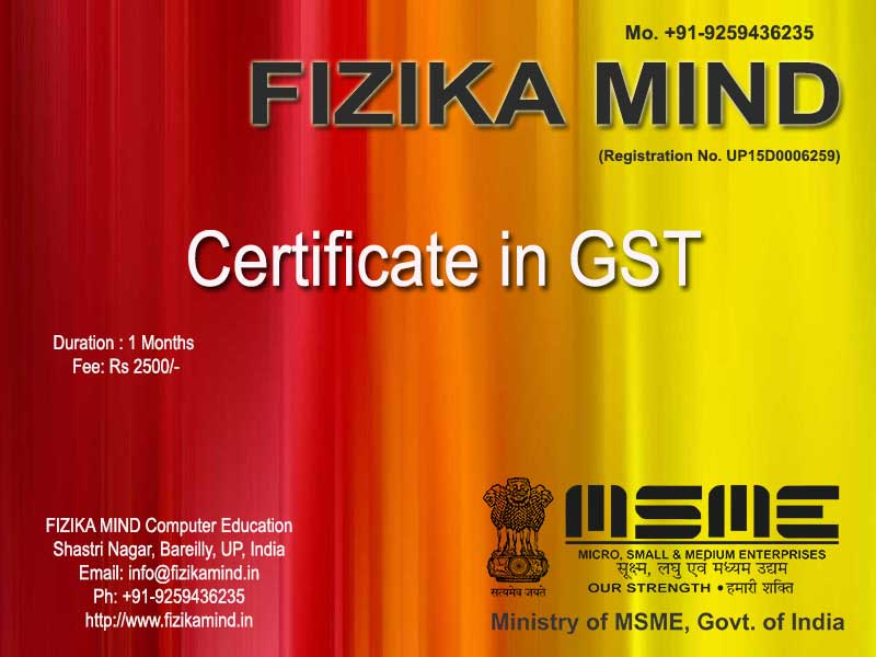 Image for FIZIKA MIND Certificate Course on Tally Busy Marg CCC