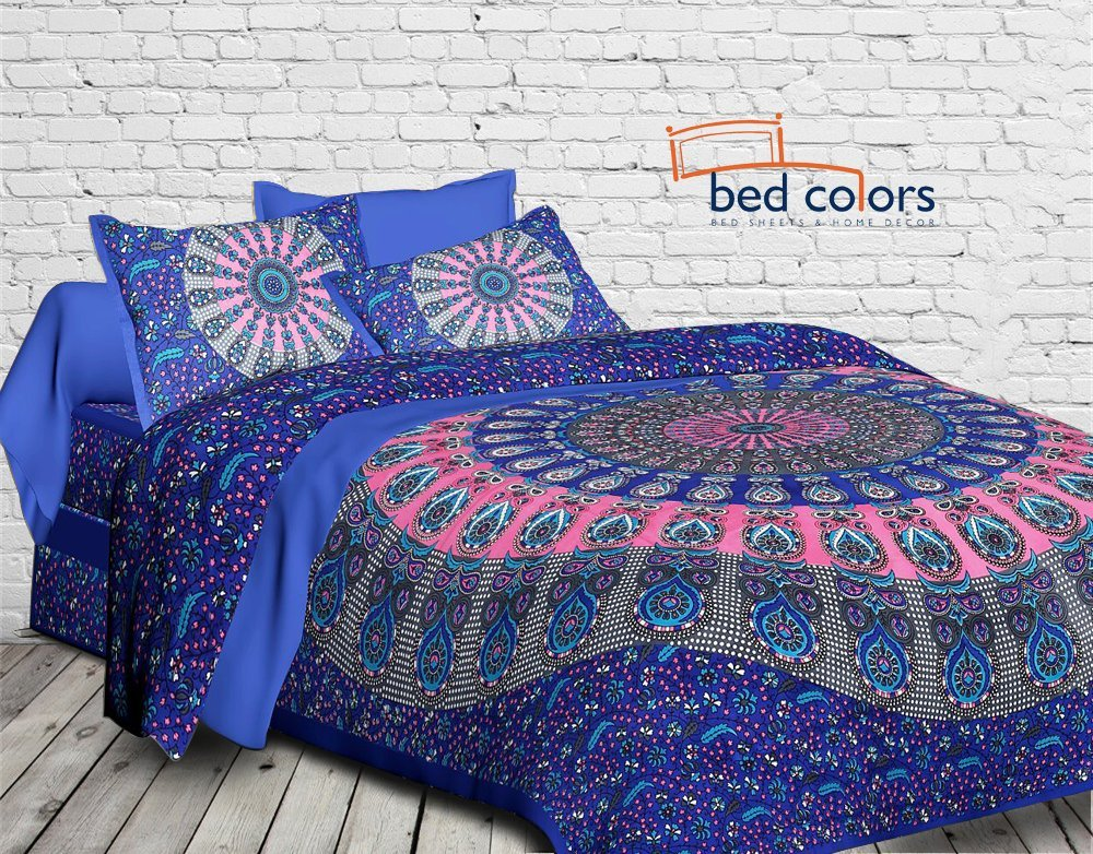 Image for Bedcolors 180 TC Double Bed Pure Cotton Queen Size Bedsheet with two P