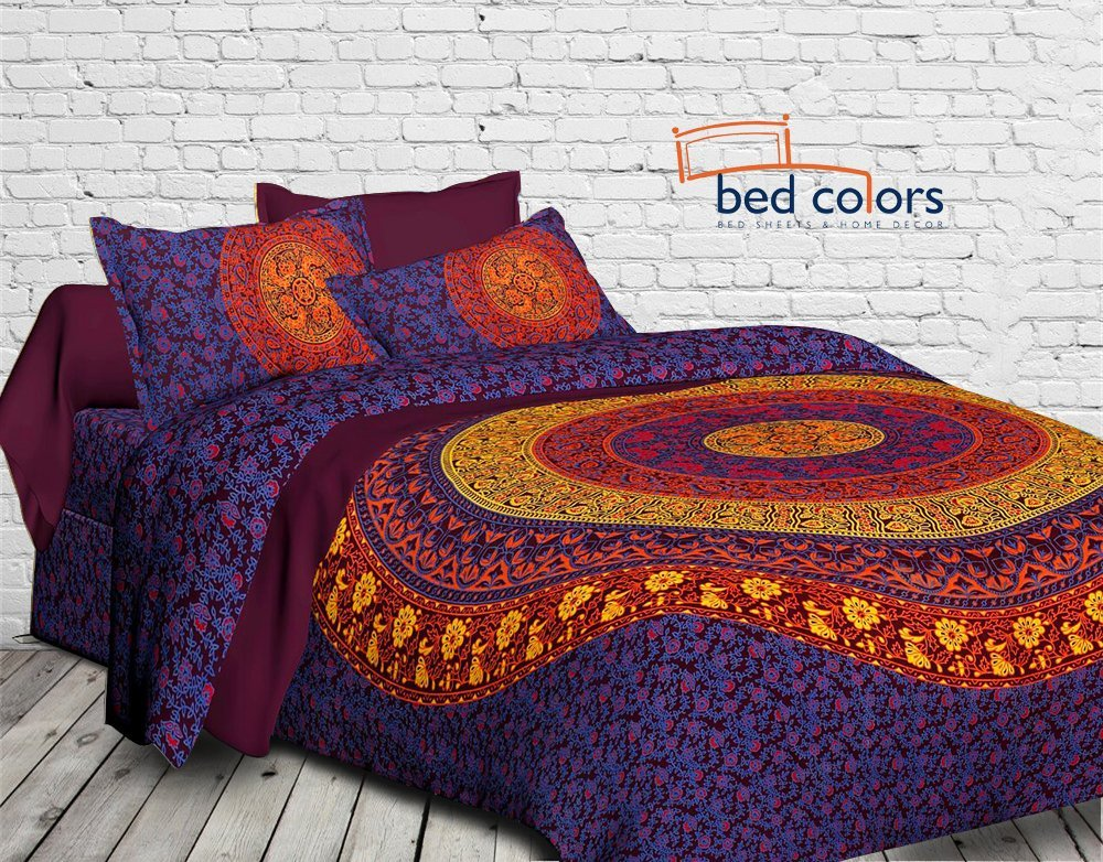 Bedcolors 180 TC Double Bed Pure Cotton KingSize Bedsheet with two Pil