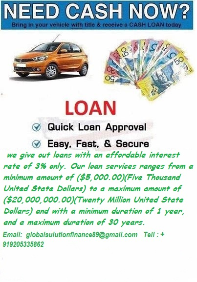 Image for  FAST AND AFFORDABLE LOAN AT 3% INTEREST RATE