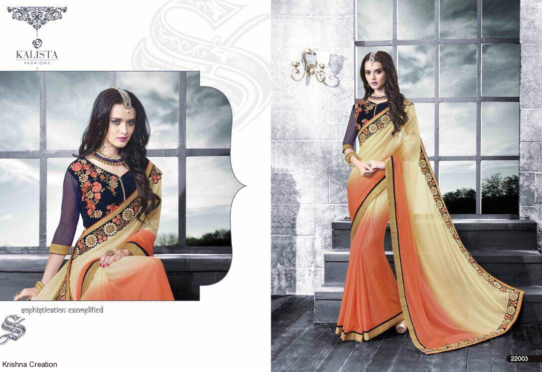 Image for Fancy designer sarees from kalista mantra available at wholesale no of