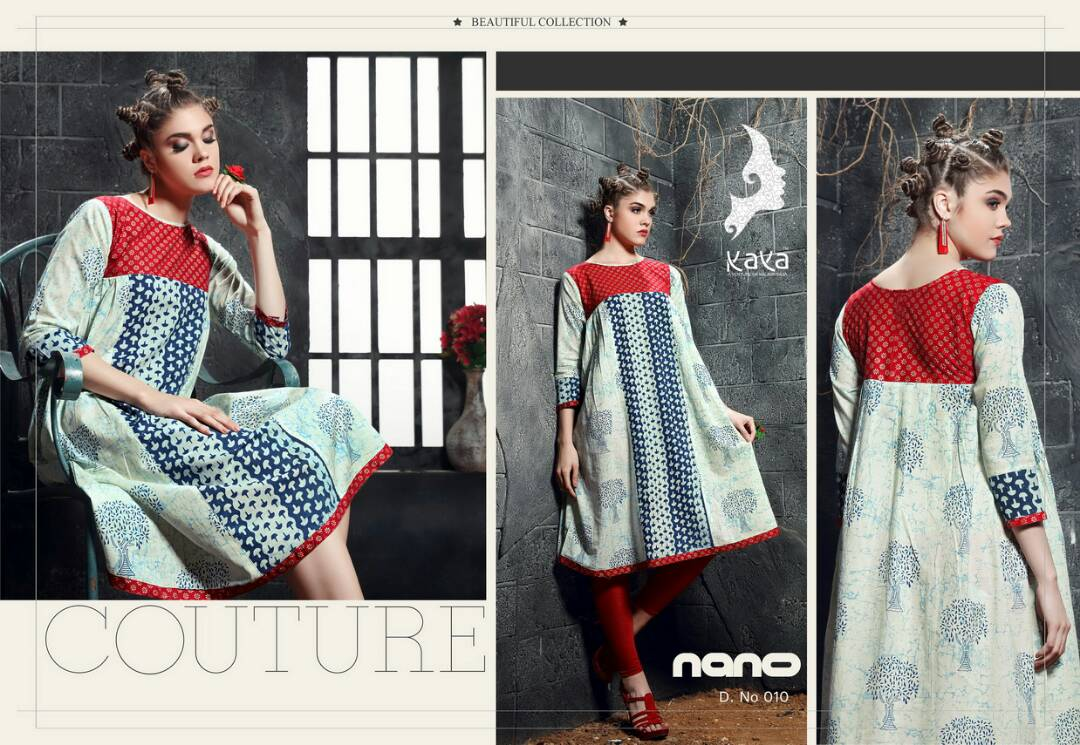Nano by kaya cotton printed readymade kurtis catalog at wholesale avai