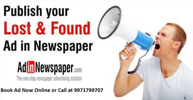 Image for Lost Found Advertisement in Newspaper
