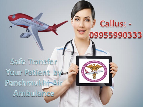 24 Hours Medical Transfer Service by Air ambulance from Varanasi to D