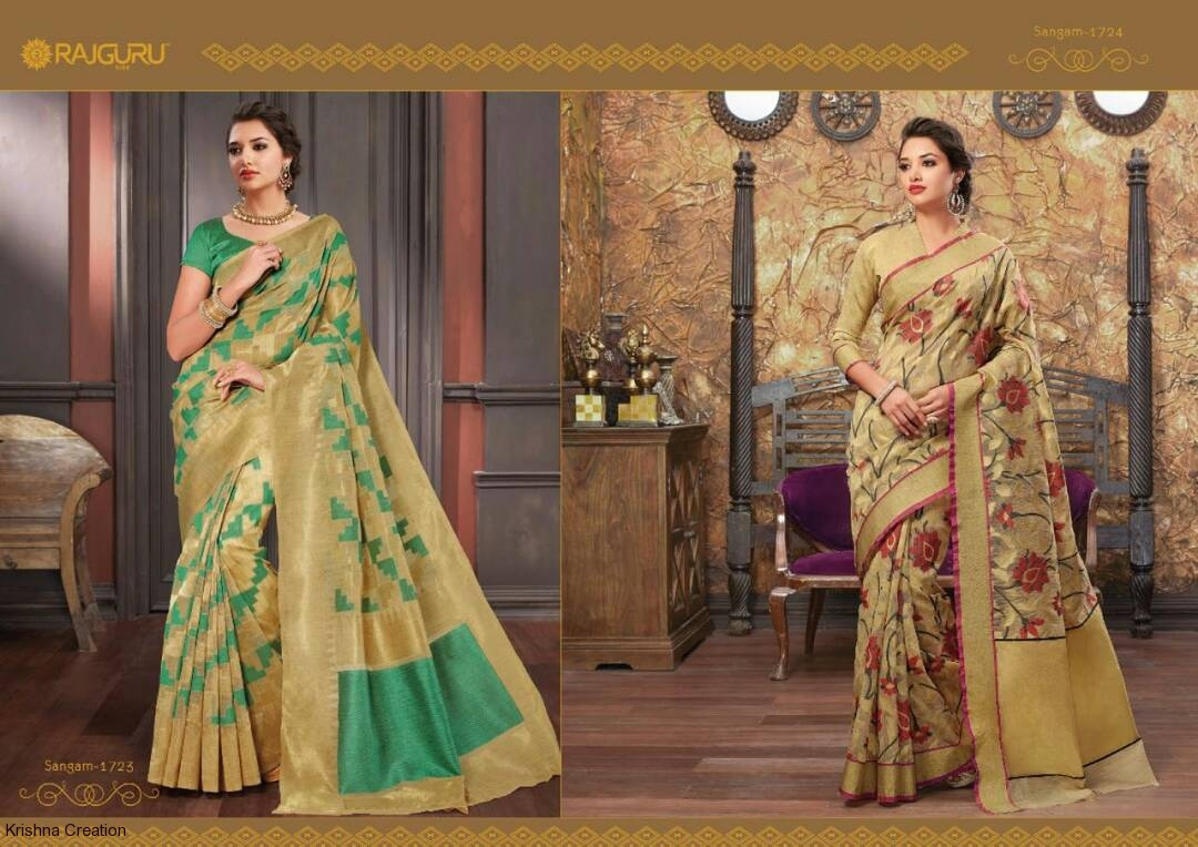 Rajguru sangam vol2 silk jacquard sarees catalog at wholesale availabl
