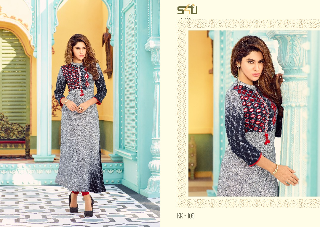 Kalakriti kurtis by s4u catalog rayon printed at wholesale  moq- full