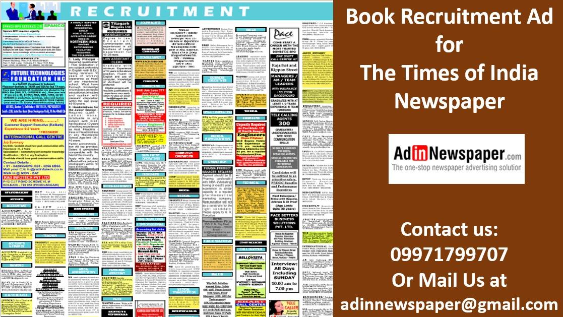 Image for Times of India Recruitment Advertisement