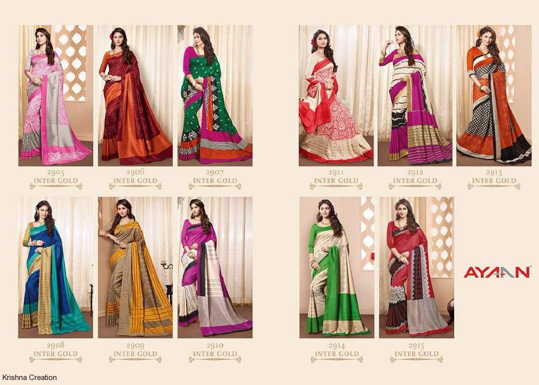 Ayaan by vipul 2905 series silk printed sarees catalog at wholesale