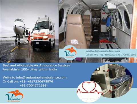 Image for Get Any Time on Call Vedanta Air Ambulance from Delhi