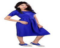 Image for Rajkumari Women's Bubble Crepe Royal Blue Skater Dress