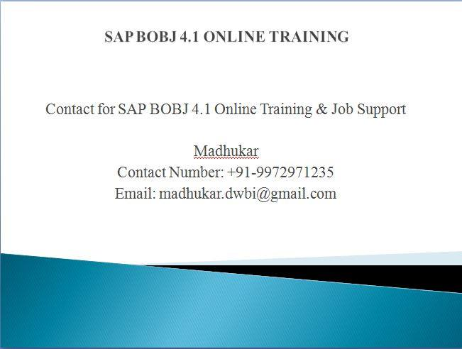 SAP Business Objects Online Training in India with Live Real time Proj