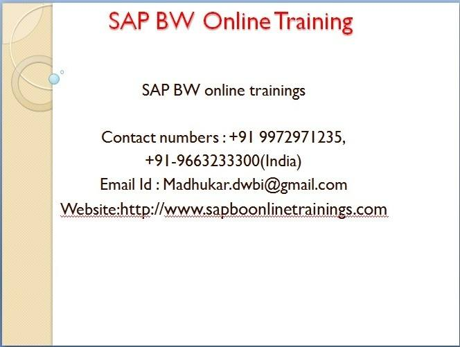SAP BW Online Training And BW Tutorials for Beginners