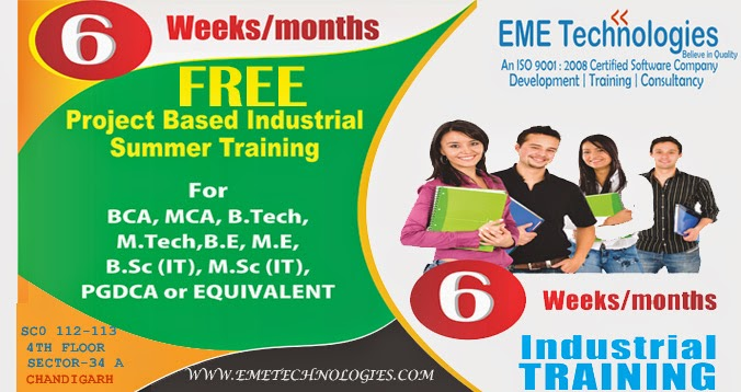 Image for  6  months/ 6 weeks    Free/stipend industrial training in chandigarh