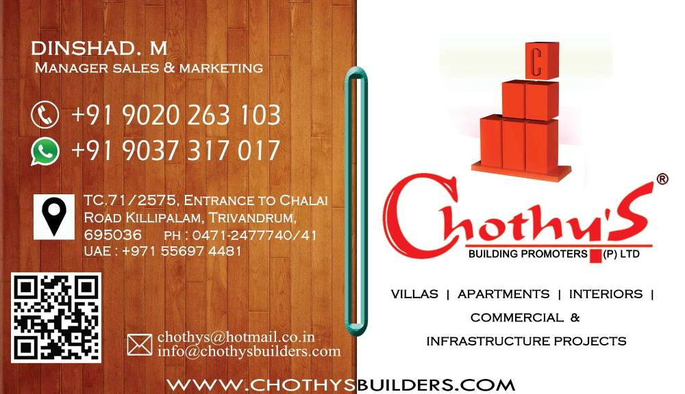 Chothys Builders Villas&Appartments in Trivandrum 9020263103